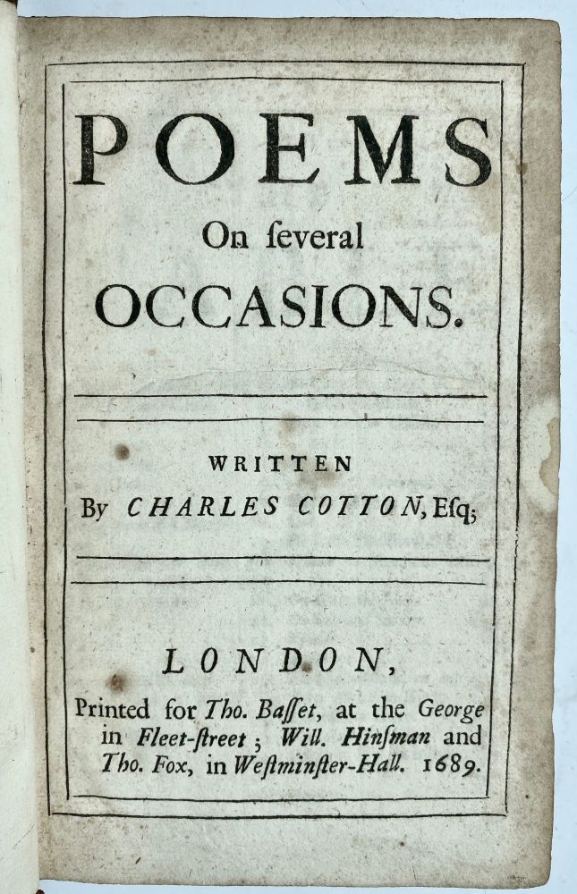 Poems On several Occasions. Written By Charles Cotton, Esq;. Charles Cotton.